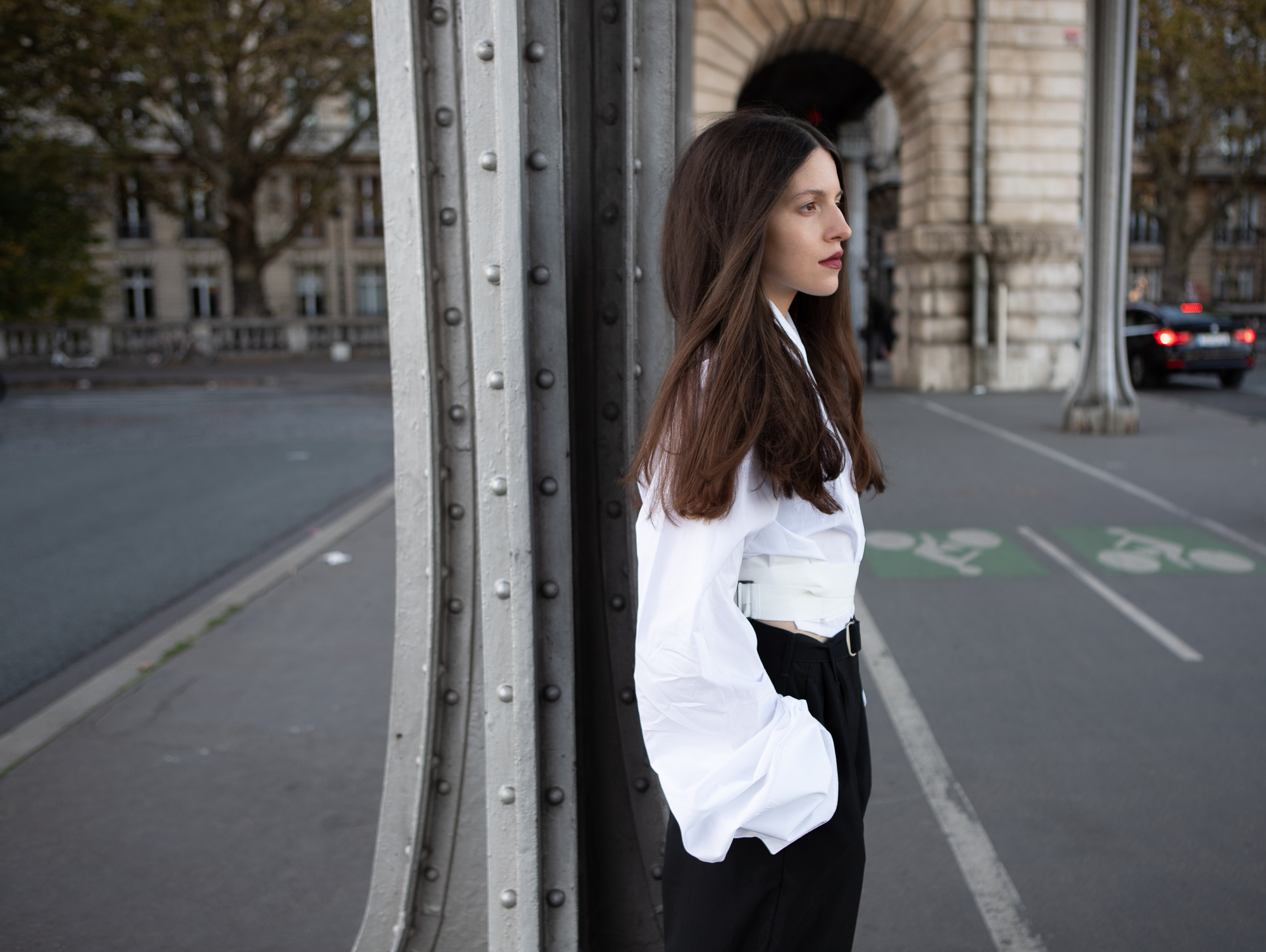 model in rick owens and ann demeulemeester during paris fashion week