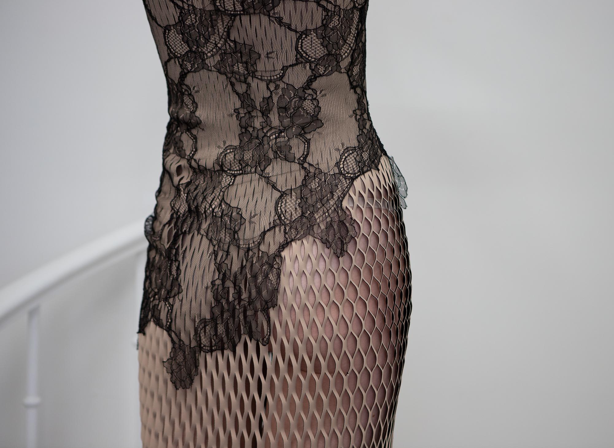 dion lee transparent lace dress